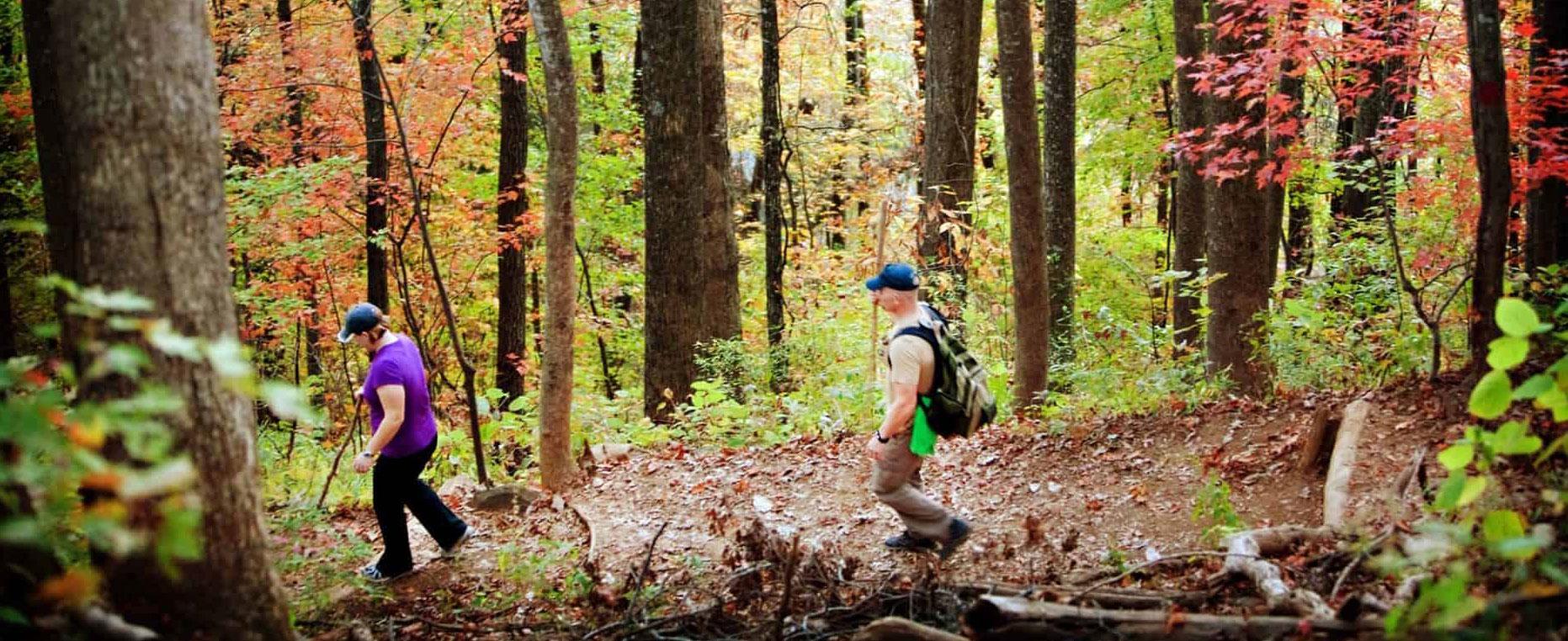 People hiking the fall foliage trails
